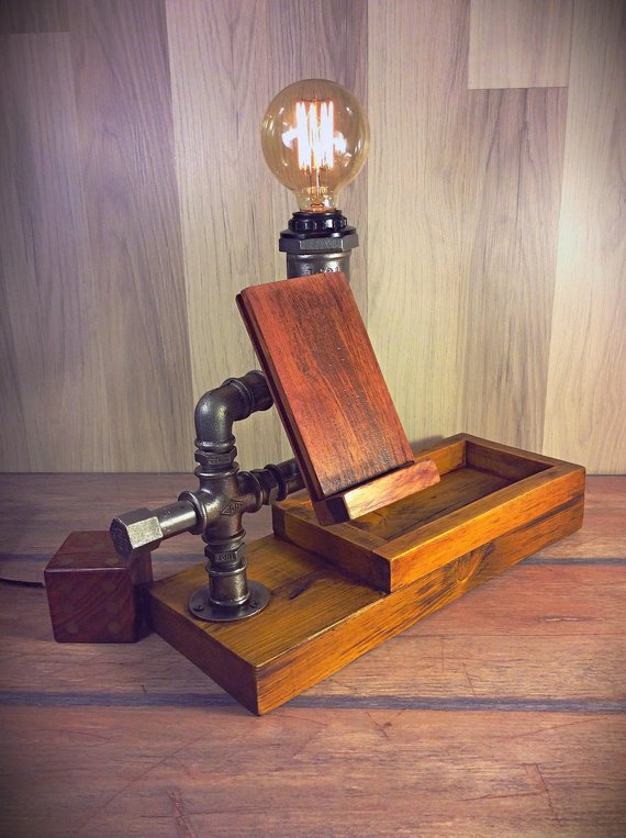 Steampunk table lamp & organizer