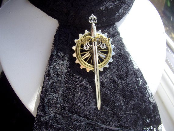 Steampunk Sword Brooch / Tie Pin