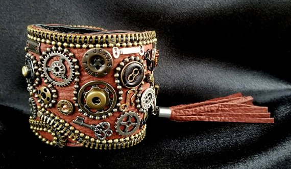 Brown Steampunk leather cuff