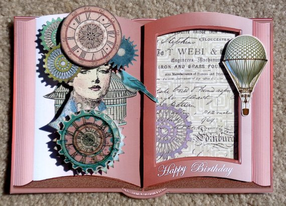 Steampunk Themed Handmade 3D Greeting Card