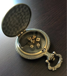 Steampunk Style Pocket Watch Shell with Partial Set of 6 Metal Micro Polyhedral Dice - NO D20