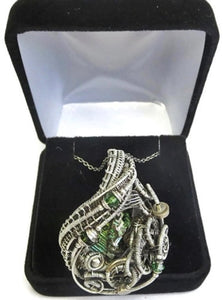 Bismuth Crystal Wire-Wrapped Steampunk Pendant in Sterling Silver