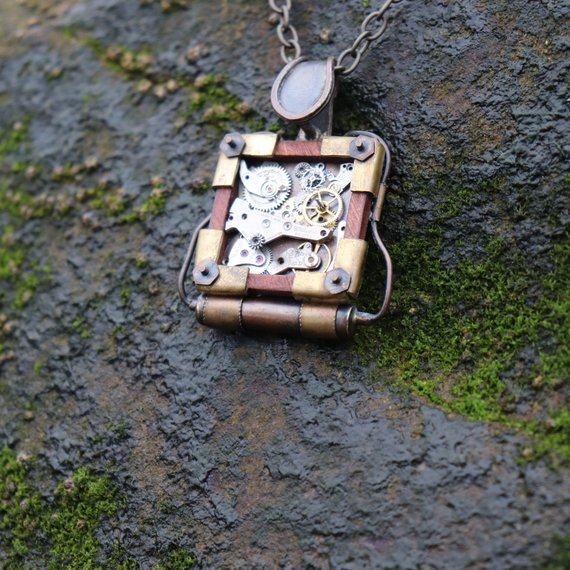 Handcrafted steampunk one of a kind pendant