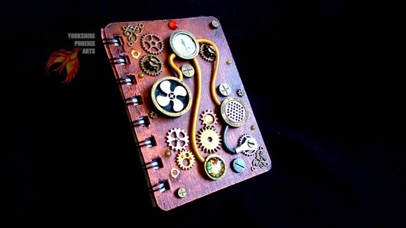 Steampunk cosplay wood cover 3D notebook