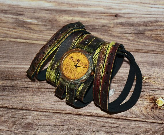 Leather wrap Da Vinci Steampunk watch