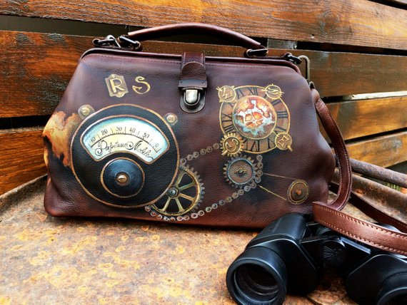 Custom leather hand painted doctor bag