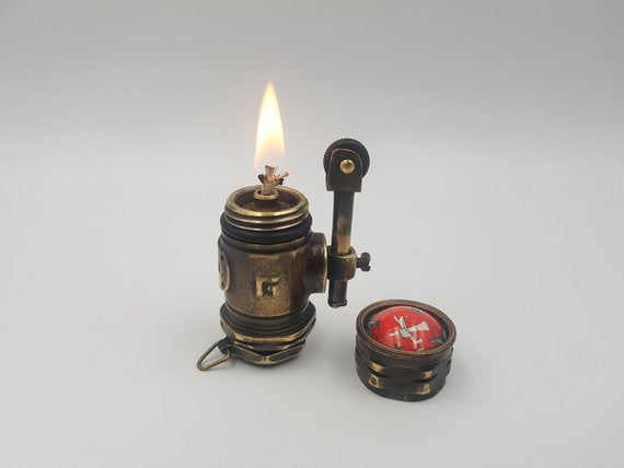 Steampunk Petrol Lighter Handmade Fire Department