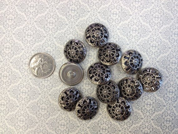 Steampunk Texturized Filigree Vintage Shank Buttons