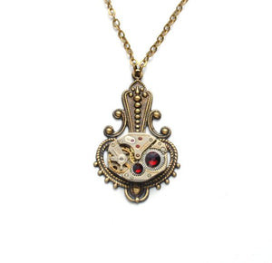 Steampunk January Birthstone Garnet Necklace