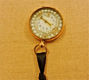 Vintage Antique Steampunk Gold And Pearls Pocket Watch
