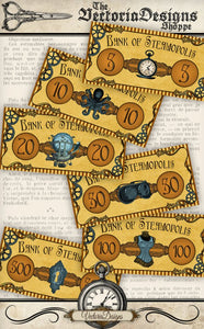 Steampunk Printable Game Money