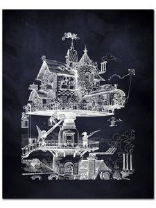 Flying House Steampunk Poster