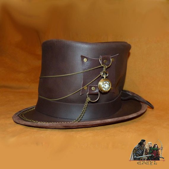 Steampunk leather top hat time traveler