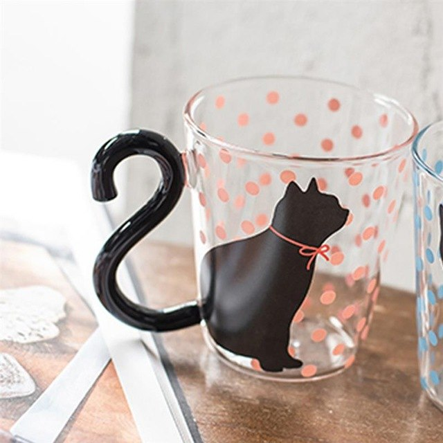 250ml Creative Cat Coffee Mug Cup Tea Milk Glass Cup Dots Kitty Tails Water  Cups Milk Coffee Cup Drinkware For Couple Birthday