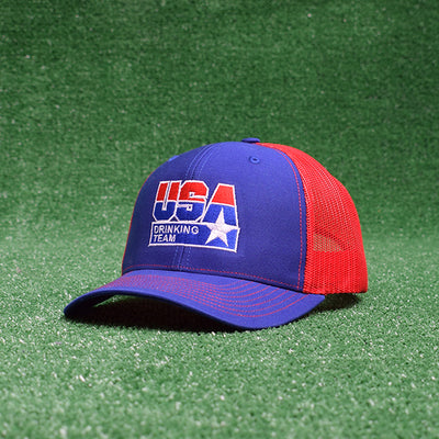 USA Drinking Team Logo Royal Blue/Red Trucker Hat