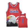 Red America #1 Basketball Jersey w/ Eagle