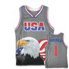 Grey America #1 Basketball Jersey w/ Eagle