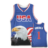 Blue America #1 Basketball Jersey w/ Eagle