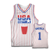 USA Drinking Team Basketball Jersey (White/Pinstripe)