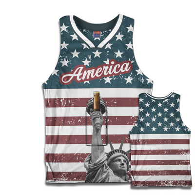 Statue of Liberty Basketball Jersey w/ Beer Holder