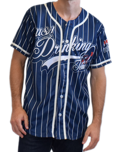 USA Drinking Team (White Pinstripe) Baseball Jersey