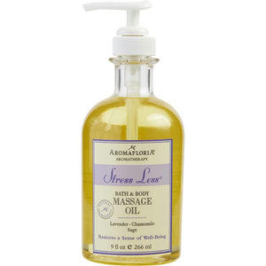 Stress Less Bath And Body Massage Oil 9 Oz Blend Of Lavender, Chamomile, And Sage By Aromafloria