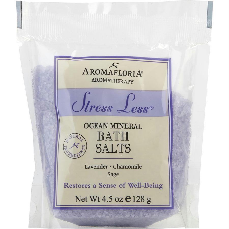 Stress Less Bath Salt Packet 4.5 Oz Blend Of Lavender, Chamomile, And Sage By Aromafloria
