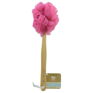 Spa Accessories Net Sponge Stick (beech Wood) - Pink - By Spa Accessories