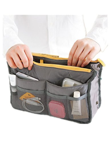 Women Travel Insert Handbag Organiser Purse Large liner Organizer Bag (Grey)