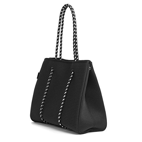 LUNA Multipurpose Neoprene Womens Tote Bag - Black. Beach Bag, Gym Bag, Diaper Bag.