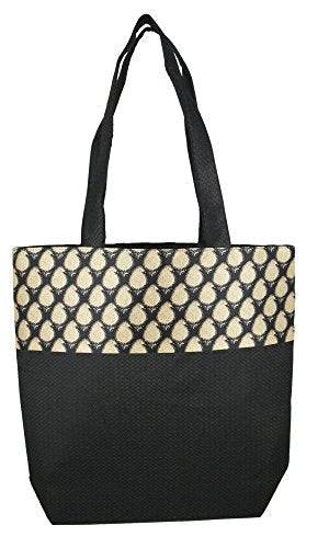 Digitally printed Brocade fashion bag 15 x 16 inch Faux Silk Dupion,BLACK,Totes