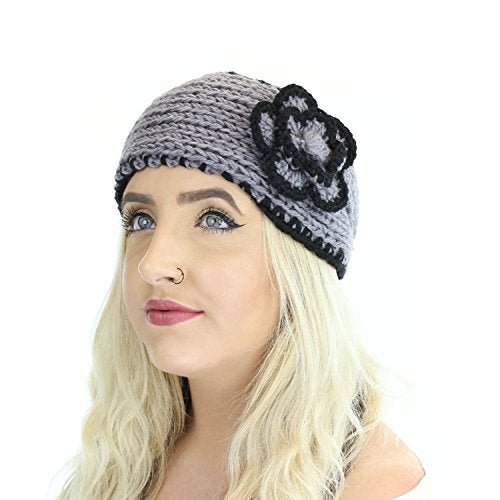 Boho Winter Knit Ear Warmer Head Wrap W/ Flower, Cute Warm Adjustable Headband