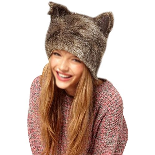 YAOSEN Women Faux Fur Hat with Ears Winter Ear Warmer Earmuff