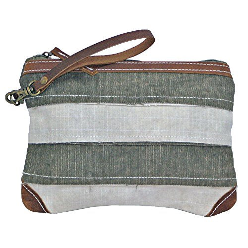 Uchi Canvas Holden Patchwork Wristlet Vintage Hand Bag Recycled Canvas Tent with Real Leather Strap and Trim