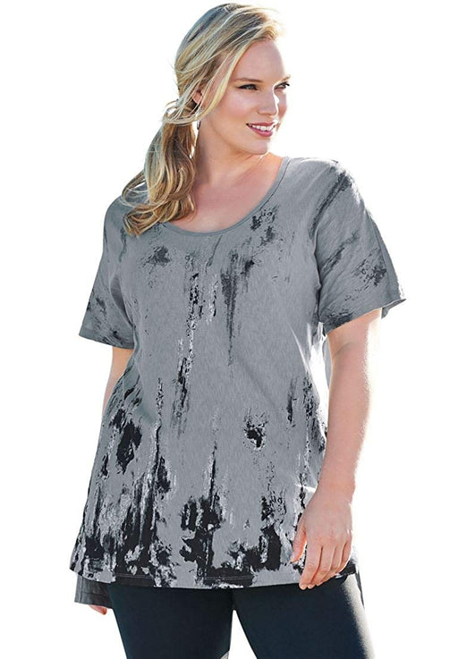 9fa93a74c33 Roamans Women s Plus Size Textured Slub Tunic