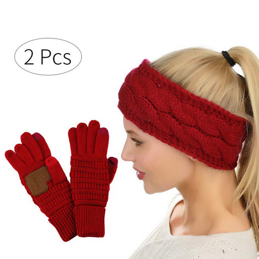 HADM Winter Cable Knit Fuzzy Lined Head Wrap Headband Ear Warmer with Touch Screen Gloves