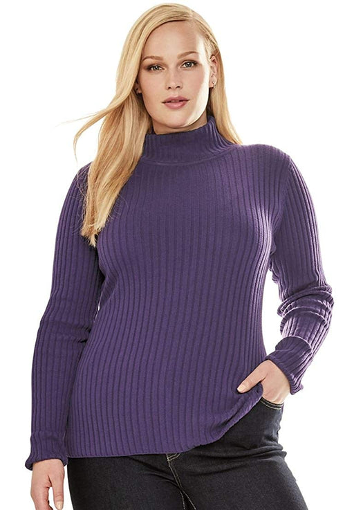 bbe376340bf Jessica London Women s Plus Size Turtleneck Sweater With Ribbing