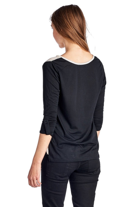 Women's Knit to Woven Colorblock Top with Pocket
