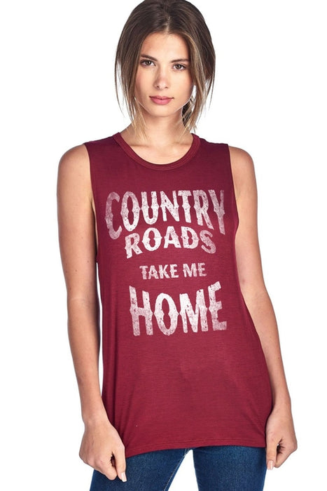 Country Roads Take Me Home Muscle Tank Top