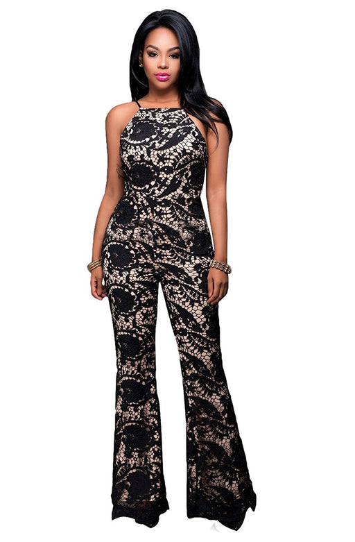 d71fa5ddad Felicity Young Women's Sexy Sleeveless Spaghetti Strap High Waist Wide Leg  Long Pants Jumpsuit Romper