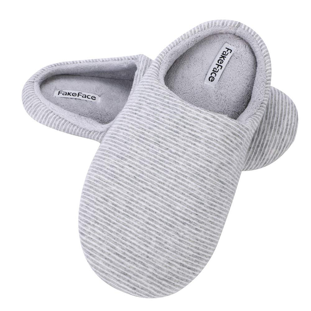 448a37cc006b QCHOMEE Men s Stripe Plush Slippers Memory Foam Cotton House Slippers Cozy  Soft Sole Slip-on