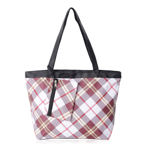 "Check Pattern Tote Bag 16x11.4x11.4"" with Matching Coin Bag 6x4.40"""