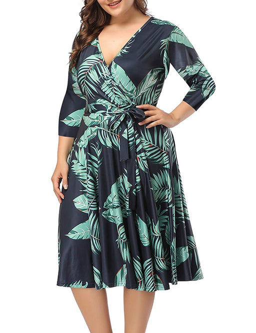 08dba79c1dbd5 PARTY LADY Women's V-Neckline Stretchy Casual Midi Floral Dress Plus Size (XL-