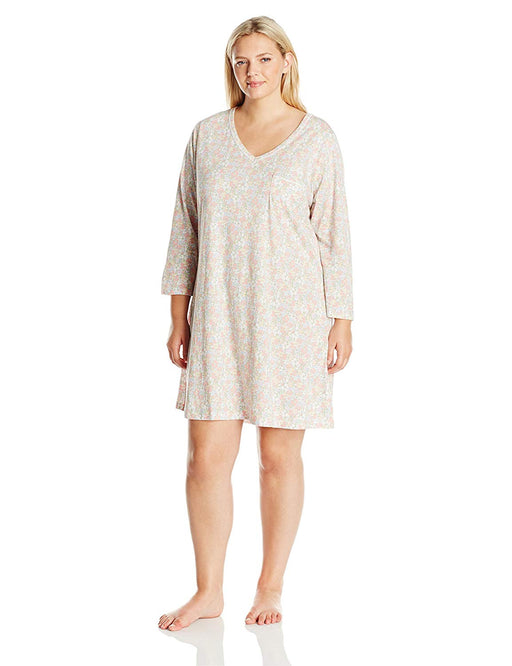 Carole Hochman Women's Plus Size 3/4 Sleeve Novelty Print Sleepshirt