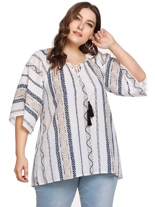 f6e226e25f6 Milumia Womens Loose Fitted Summer Plus Size Baggy Printed Bohemian Casual  Tops Blouses