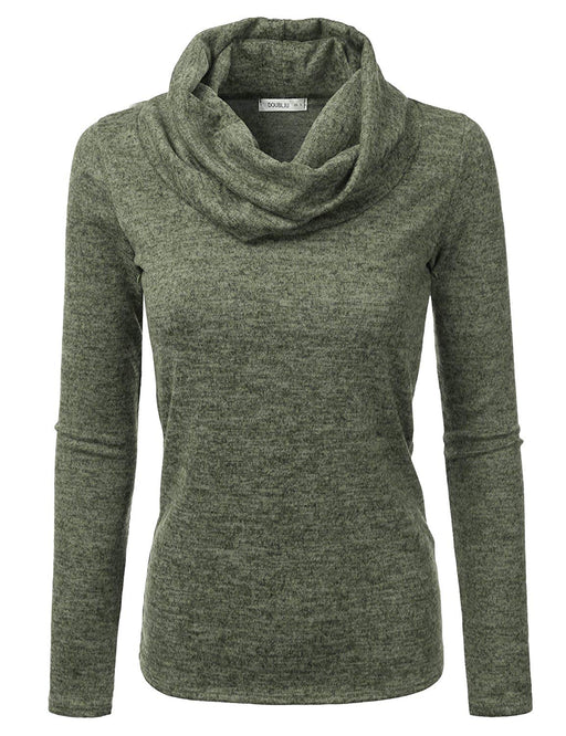 4c6c88889eabe8 Doublju Cowl Neck Heather Knit Sweater Top for Women with Plus Size