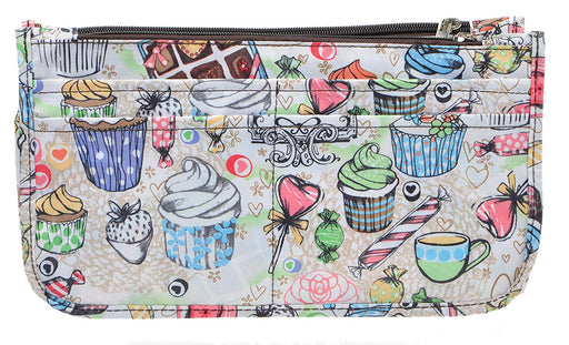 Vercord Printed Purse Handbag Tote Insert Organizer 13 Pockets With Zipper and Handles 2 Size
