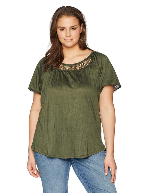 fbfca4e8a3d Jason Maxwell Women s Plus-Size Short Sleeve Lace Inset Peasant Top