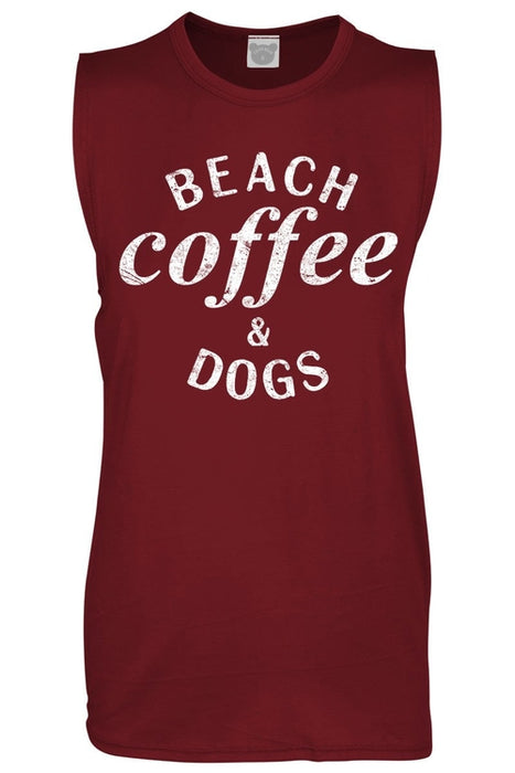 Graphic Tank Top Beach Coffee Dogs Design Muscle