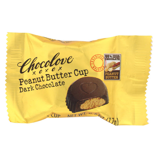 Chocolove Xoxox Cup - Peanut Butter - Dark Chocolate - Case Of 50 - .6 Oz